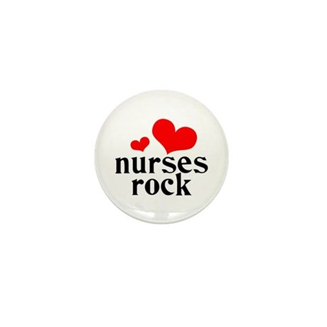 nurses rock (red/black) Mini Button