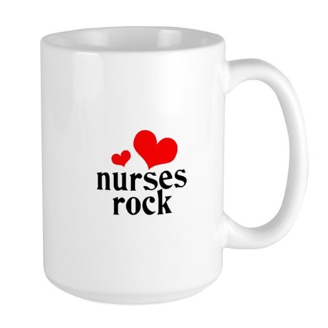 nurses rock (red/black) Large Mug