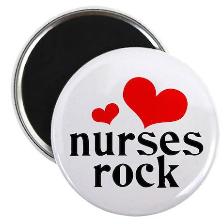 """nurses rock (red/black) 2.25"""" Magnet (100 pack)"""