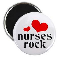 """nurses rock (red/black) 2.25"""" Magnet (10 pack)"""