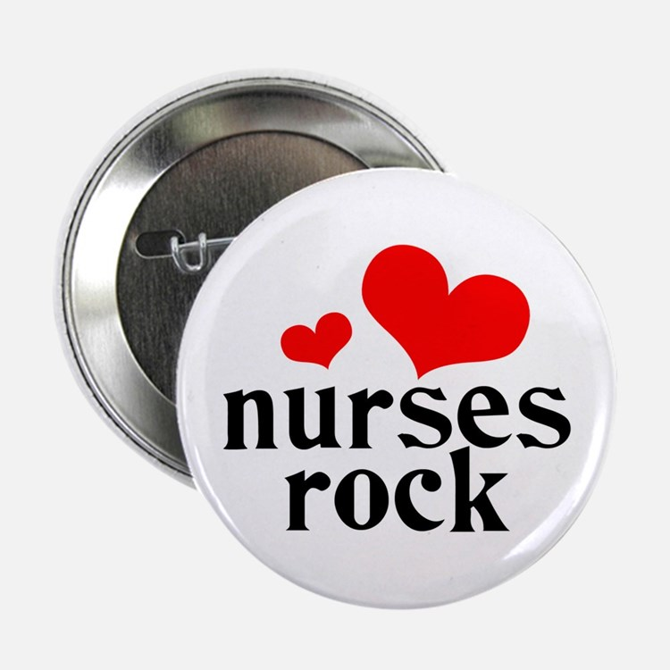 "nurses rock (red/black) 2.25"" Button"
