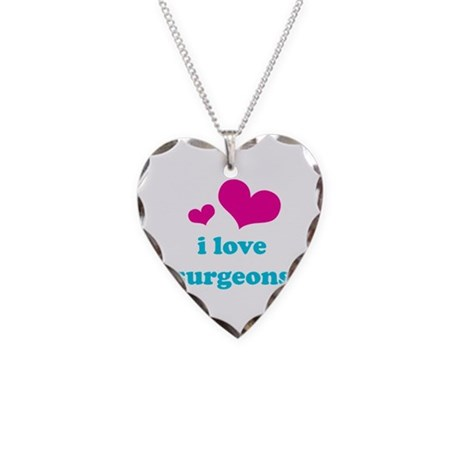 i love surgeons (pink/blue) Necklace Heart Charm