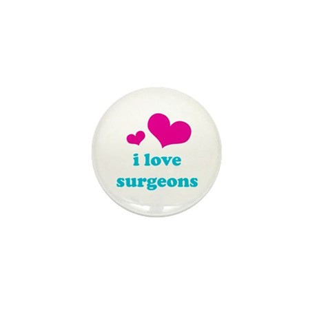 i love surgeons (pink/blue) Mini Button (100 pack)