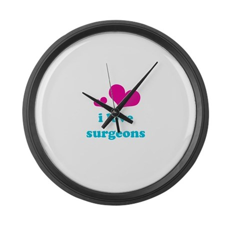i love surgeons (pink/blue) Large Wall Clock