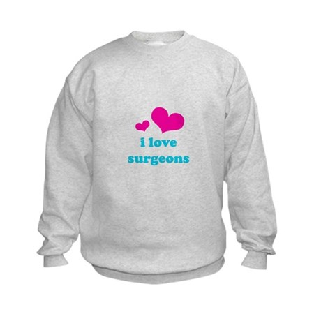 i love surgeons (pink/blue) Kids Sweatshirt
