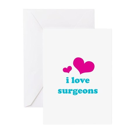 i love surgeons (pink/blue) Greeting Cards (Pk of