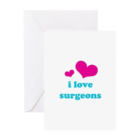 i love surgeons (pink/blue) Greeting Card