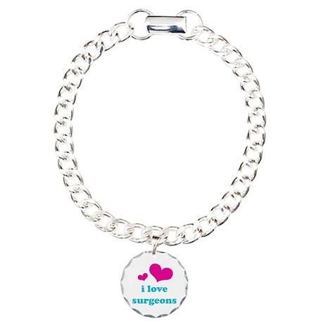 i love surgeons (pink/blue) Charm Bracelet, One Ch