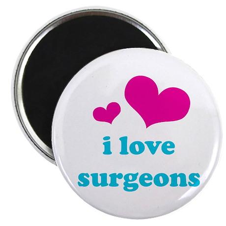 """i love surgeons (pink/blue) 2.25"""" Magnet (100 pack"""