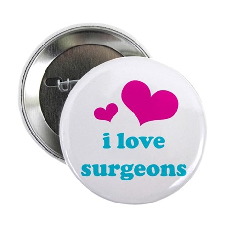 "i love surgeons (pink/blue) 2.25"" Button (100 pack"