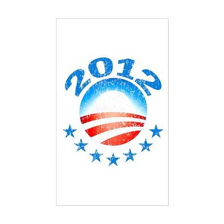Obama 2012 with Stars Sticker (Rectangle)