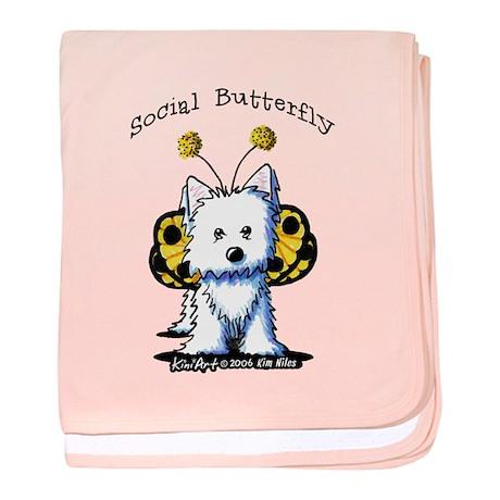 Social Butterfly Westie baby blanket
