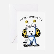Social Butterfly Westie Greeting Cards (Pk of 20)