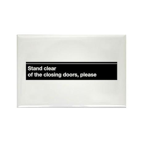 NYC Subway closing doors Rectangle Magnet (100 pac