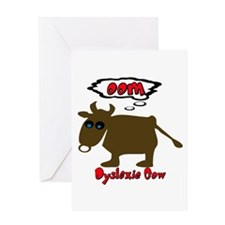 Funny Dyslexic Cow Greeting Card
