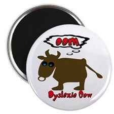 """Funny Dyslexic Cow 2.25"""" Magnet (10 pack)"""