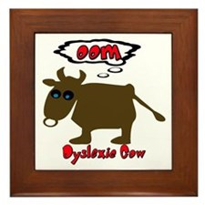 Funny Dyslexic Cow Framed Tile