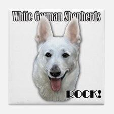 White German Shepherds Rock Tile Coaster