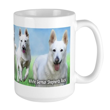 White German Shepherds Rock Large Mug