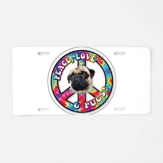 Cute Peace love pugs Aluminum License Plate