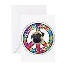 Peace Love Pug Greeting Cards