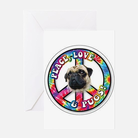 Peace Love Pug Greeting Cards