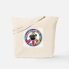 Cute Peace love pugs Tote Bag