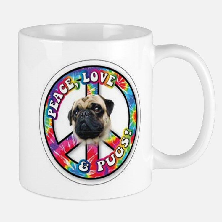 Cute Peace love pugs Mug