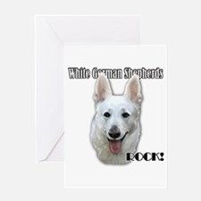 White German Shepherds Rock Greeting Card