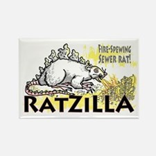 Ratzilla Fire-Spewing Rat Rectangle Magnet