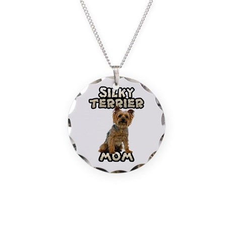 Silky Terrier Mom Necklace Circle Charm