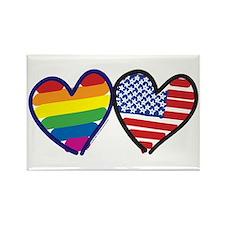 Patriotic Gay Pride Rainbow H Rectangle Magnet