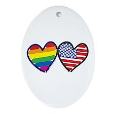 Patriotic Gay Pride Rainbow H Ornament (Oval)