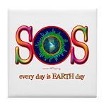 SOS Earth Day Tile Coaster