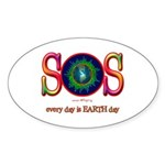 SOS Earth Day Oval Sticker