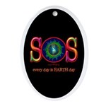 SOS Earth Day Oval Ornament