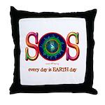 SOS Earth Day Throw Pillow