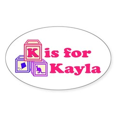 Baby Blocks Kayla Sticker (Oval 50 pk)