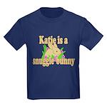 Katie is a Snuggle Bunny Kids Dark T-Shirt