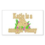 Katie is a Snuggle Bunny Sticker (Rectangle 50 pk)
