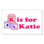 Baby Blocks Katie Sticker (Rectangle)