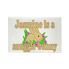 Jasmine is a Snuggle Bunny Rectangle Magnet (10 pa