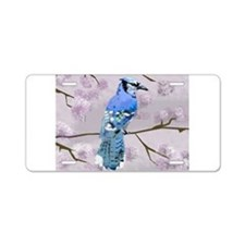 blue jay & cherry blossoms Aluminum License Plate