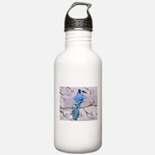 blue jay & cherry blossoms Water Bottle