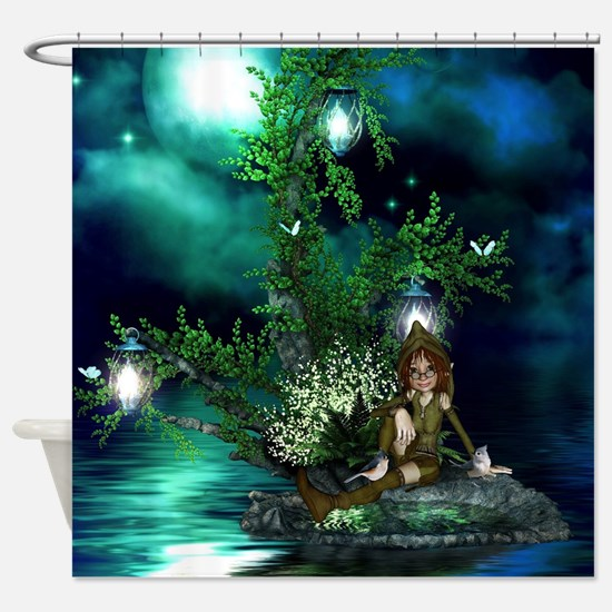 Cute fairy sitting on a island in the night Shower