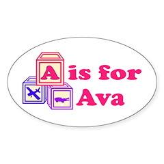 Baby Blocks Ava Sticker (Oval)