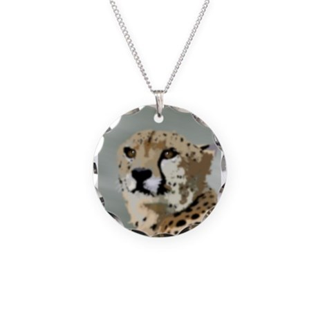Cheetah Necklace Circle Charm
