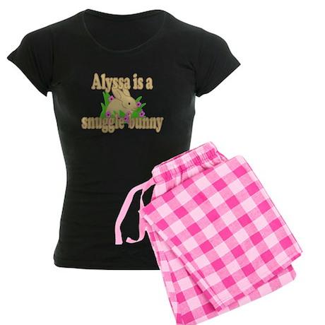 Alyssa is a Snuggle Bunny Women's Dark Pajamas