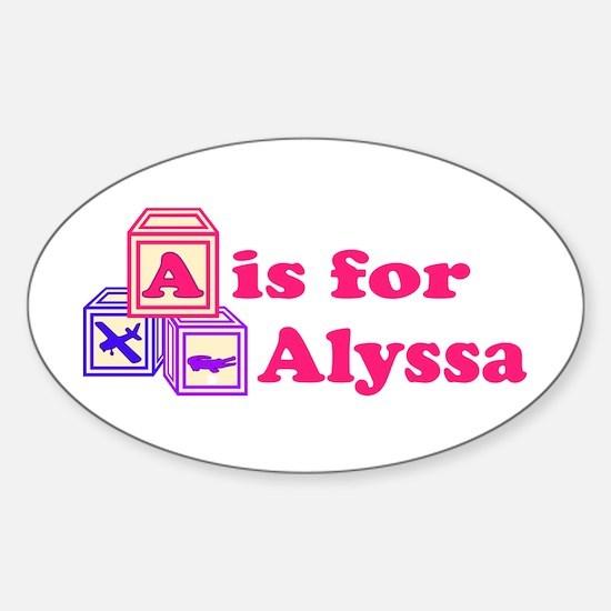 Baby Blocks Alyssa Sticker (Oval)