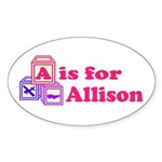 Baby Blocks Allison Sticker (Oval 10 pk)